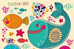 Link toFish cartoon vector illustration