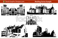 Link toFive architectural sketches in black and white vector graphics