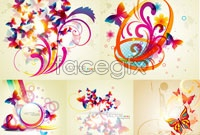 Link toFive butterflies trend silhouettes vector background