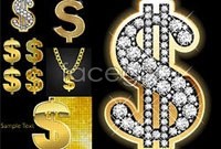 Link toFive dollar sign of bling vector