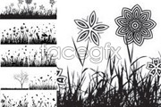 Link toFive flowers and butterfly silhouette vector