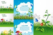 Link toFive green cartoon plant background vector