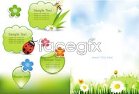 Link toFive spring-themed design elements vector map