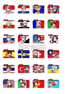 Link toFlag cartoon characters folder icons