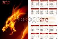 Flame dragon 2012 calendar template vector