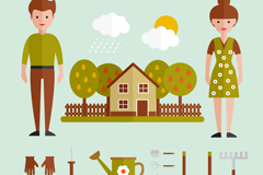 Link toFlat characters and gardening tools vector graphics