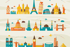 Link toFlat world scenic spots vector