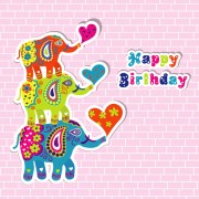Link toFloral elephants with happy birthday background vector 03 free