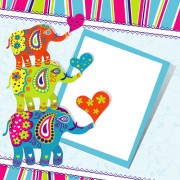 Link toFloral elephants with happy birthday background vector 05 free