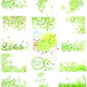 Link toFloral green ornaments vector set 04 free