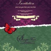 Link toFloral retor invitations background vector 04 free