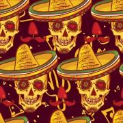 Link toFloral skulls seamless pattern vector set 05 free