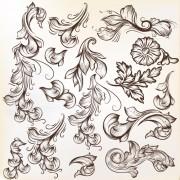 Link toFloral swirl ornament design vector 01 free