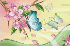 Link tovector landscape style korea butterfly and Flower