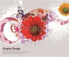 Link toFlower butterfly design elements of a line psd