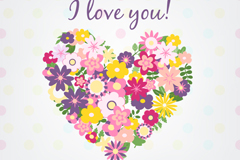 Flower combination love greeting card vector