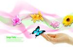 Flower finger butterfly vector