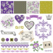 Link toFlower pattern and labels with border design elements vector 03 free