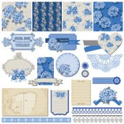 Link toFlower pattern and labels with border design elements vector 05 free