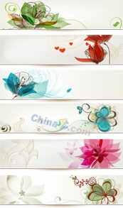 Link toFlower pattern banner vector templates