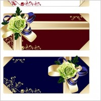Link toFlower ribbon gift card vector