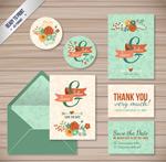 Flower wedding cards vector