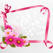 Link toFlower with ribbon frame vector free