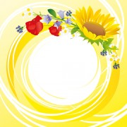 Link toFlower with yellow round background vector graphics free