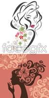Link toFlower woman silhouette vector
