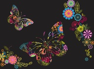 Link toFlowers and butterflies background vector free