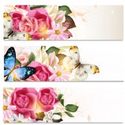 Link toFlowers and butterflies banners vectors 01 free