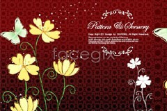 Link tobackground vector pattern classical dance butterflies and Flowers