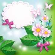Link toFlowers and butterflies with bow background vector 01 free