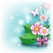 Link toFlowers and butterflies with bow background vector 02 free