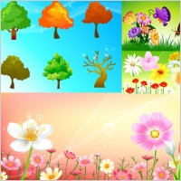 Link toFlowers and trees butterflies vector