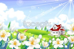 vector scenery countryside the in Flowers