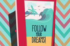 Link toFollow your dream meaning vector illustration