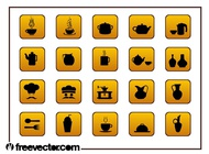 Link toFood and drinks icons set vector free