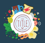 Link toFood decorative round label vector