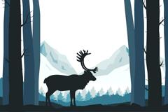Link toForest reindeer silhouette vector