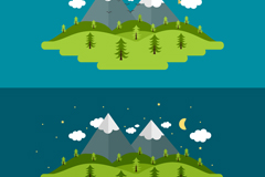 Link toForest snow day and night illustrator vector maps
