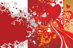 Link toFour painted valentine heart vector