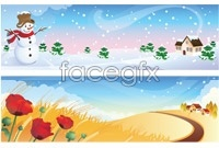 Link toFour seasons landscapes hanging flag vector illustration