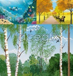 Four seasons of natural landscape vector
