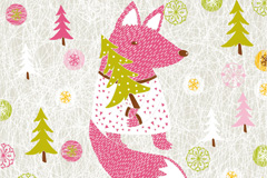 Link toFox christmas background vector
