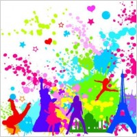Link toFree colorful inkblot of city silhouette vector graphics