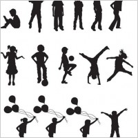 Link toFree vector children silhouettes