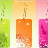 Link toFree vector flowered grunge labels