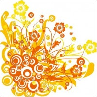 Link toFree vector graphic  flowers and swirls