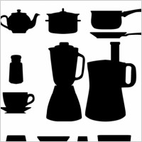Link toFree vector kitchen appliances silhouettes